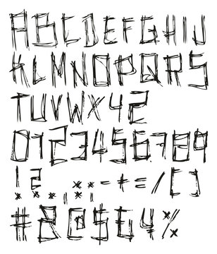 Thin Pen Doodle Regular Freehand Vector Font with Capital Letters, Numbers & Signs