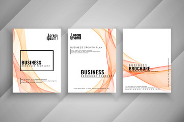 Abstract wavy business brochure set