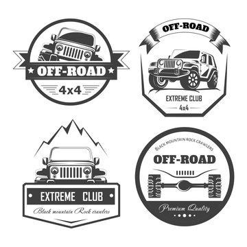 Off-road 4x4 extreme car club logo templates. Vector symbols