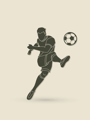 Soccer player shooting a ball action  graphic vector