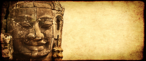 Grunge background with paper texture and landmark of Cambodia