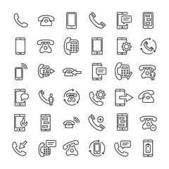 Set of 36 phone thin line icons
