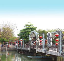 Pedestrian bridge across the Thu Bon river, Hoi An, Vietnam