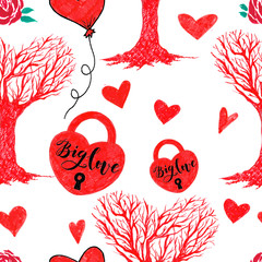Marker Valentine Seamless Hearts and Love tree pattern.