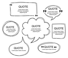Vector set of scribbled comic speech bubbles