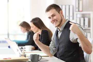 Proud businessman pointing himself