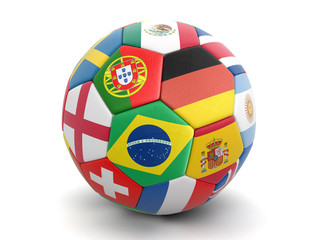 Soccer football with flags. Image with clipping path