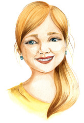 Hand drawing watercolour illustration: portrait of a young smiling girl with yellow hair shining eyes in yellow t-sirt