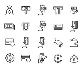 Simple collection of banking related line icons.