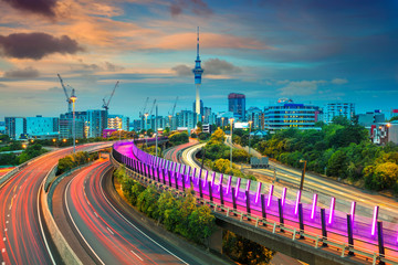 Wall Murals New Zealand Auckland. Cityscape image of Auckland skyline, New Zealand at sunset.
