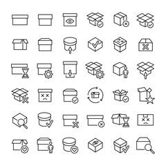 Set of 49 box thin line icons.