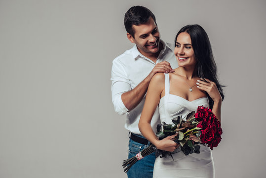 Beautiful romantic couple isolated