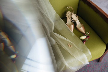 Wedding details. Morning of the bride. Shoes, rings, jewelry. Wedding in rustic style