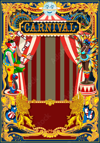 Carnival Poster Template Circus Vintage Theme For Kids Birthday Party Invitation Or Post Quality