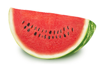 Slice of tasty watermelon on a white background.