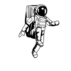 Astronaut walking on space and planet