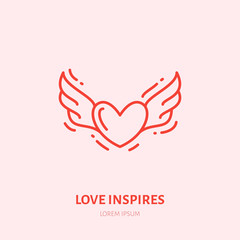 Flying heart with wings illustration. Fall in love flat line icon, romantic relationship. Valentines day greeting sign.