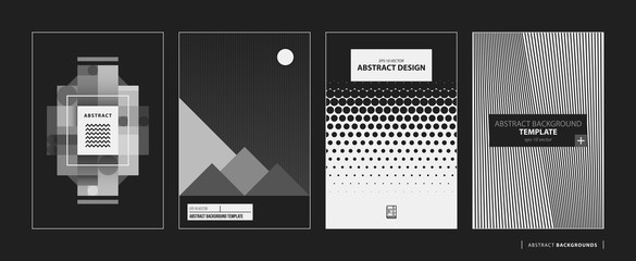 Set of four abstract backgrounds/posters in black and white style