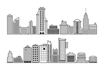 Set of modern city buildings. Black and white contour style.