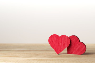 Red heart on wooden background. Valentine day. love concept.