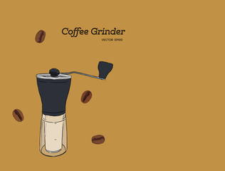Coffee Grinder , hand draw vector.