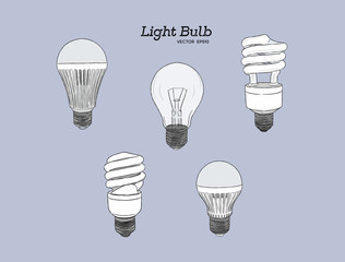 Vector hand drawn illustration of the light bulb evolution set
