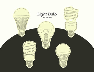 Vector hand drawn illustration of the light bulb evolution set