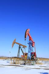 Oil field, oil pump in the work