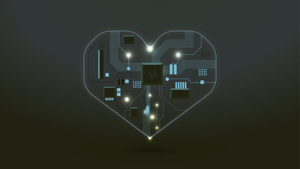 abstract digital heart mainboard background and sound wave icon