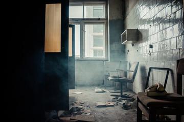 foggy abandoned room