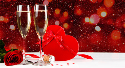Valentines celebration with champagne