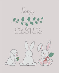 Happy Easter card or invitation with funny rabbits and hares in cute and childish hand drawn line style.