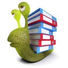3d Funny cartoon snail bug carrying document folders