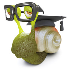3d Funny cartoon snail bug wearing graduates cap and glasses