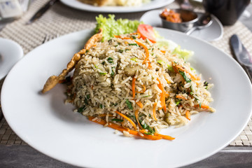 rice with vegetables and seafood. curry rice