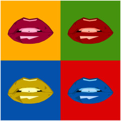 Polygonal lips pop art background