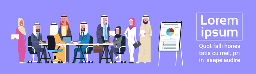 Arab Business People Group Meeting Presentation Flip Chart With Finance Data, Muslim Businesspeople Team Training Brainstorming Flat Vector Illustration