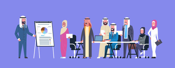 Arab Business People Group Meeting Presentation Flip Chart With Finance Data, Muslim Businesspeople Team Training Conference Flat Vector Illustration