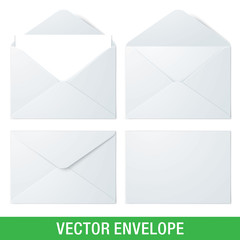 Set of white vector envelopes, in different views. Realistic vector envelope mockups.