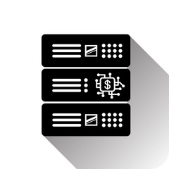 Dollar Sign On Computer Chip In Data Center Processor Icon Vector Illustration