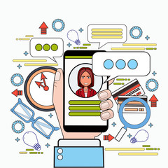 Hands Holding Smart Phone Chatting Messaging In Social Media On Workplace Background Thin Line Vector Illustration