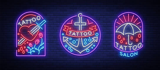 Tattoo parlor set of logos in neon style. Collection of neon signs, emblems, symbols, glowing billboard, neon bright advertising on the theme of tattoos, for tattoo salon, studio. Vector illustration