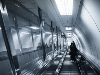 Escalator walkway with people stand Subway Travel transportation