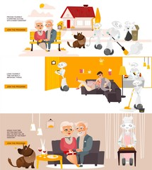 Vector robots, artificial intelligence in modern life infographic conseptual posters set. Robots assistants home robots helping with routine household chores, walking with animals, cleaning, repairing