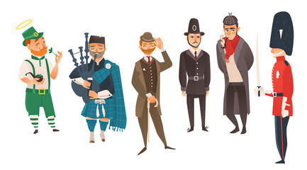 vector cartoon people in United kingdom national costumes set. scotland bagpiper in holding bagpipe, Irish man leprechaun holding clover, english victorian gentleman, detective, queen guard, policeman