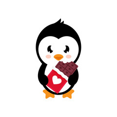 cartoon lovely penguin with chocolate