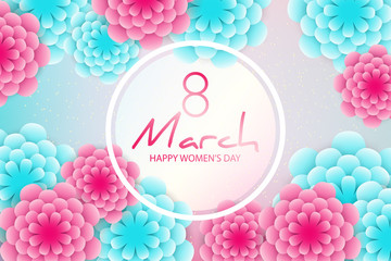 Happy Women's Day greeting card. Elegant floral background with 3d paper flowers, transparent frame for text, sparkling golden confetti. Origami trendy design template.