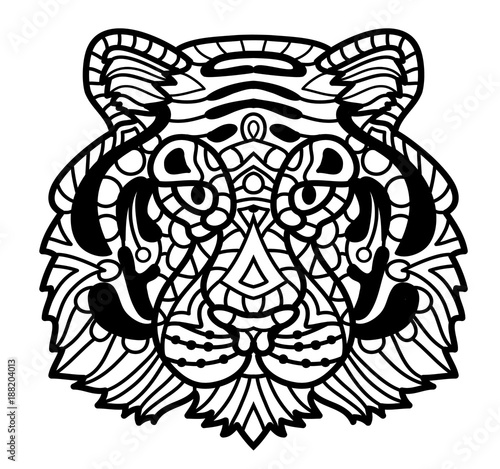 Vector Tiger Zentangle Face Illustration Head Print For Adult Anti Stress Coloring