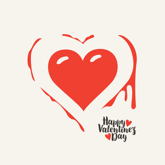 Vector greeting card or banner with heart and blood with calligraphic inscription Happy Valentines Day