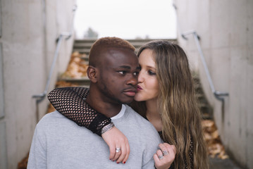 Deep connection between two young people of different races. Interracial relationships